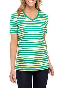Kim Rogers® Short Sleeve V Neck Stripe Top