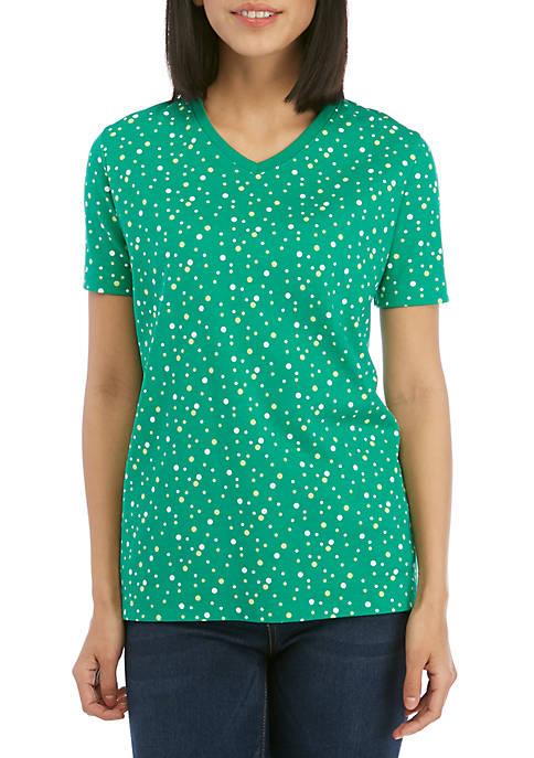 Short Sleeve V Neck Dot Print Top