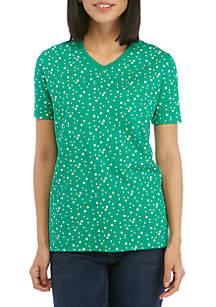 Kim Rogers® Short Sleeve V Neck Dot Print Top
