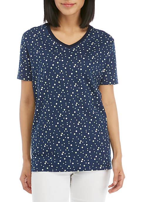 Kim Rogers® Short Sleeve V Neck Dot Print