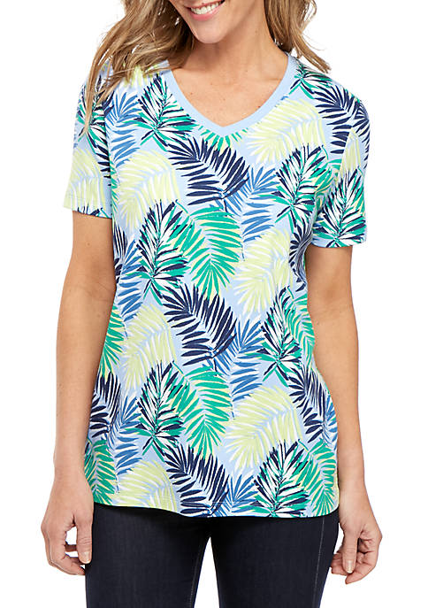 Short Sleeve V Neck Palm Print Top