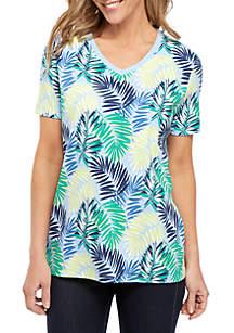 Kim Rogers® Short Sleeve V Neck Palm Print Top