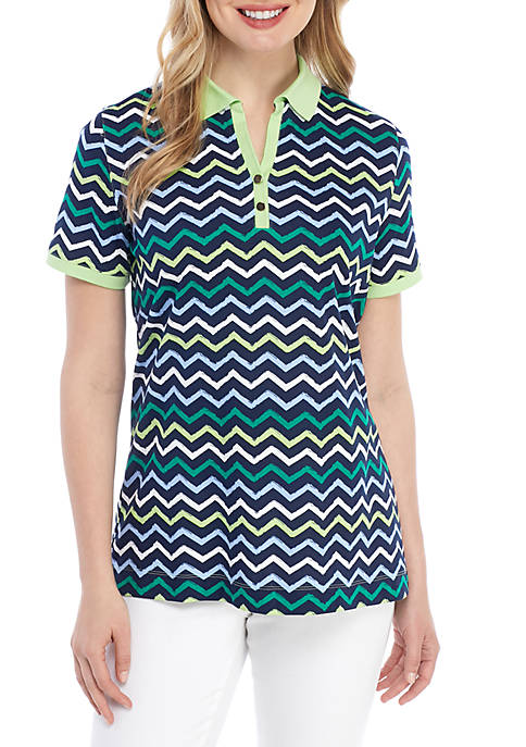 Kim Rogers® Short Sleeve Chevron Polo