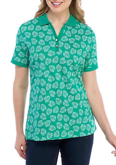 Kim Rogers® Short Sleeve Polo Palm Print Top
