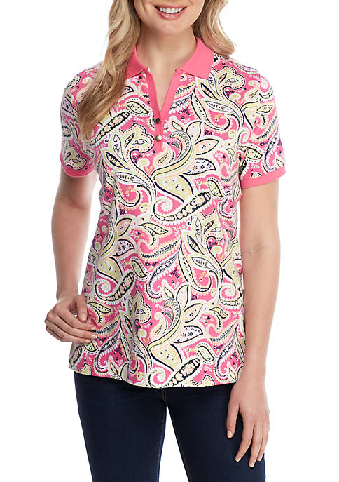 Short Sleeve Paisley Polo Top