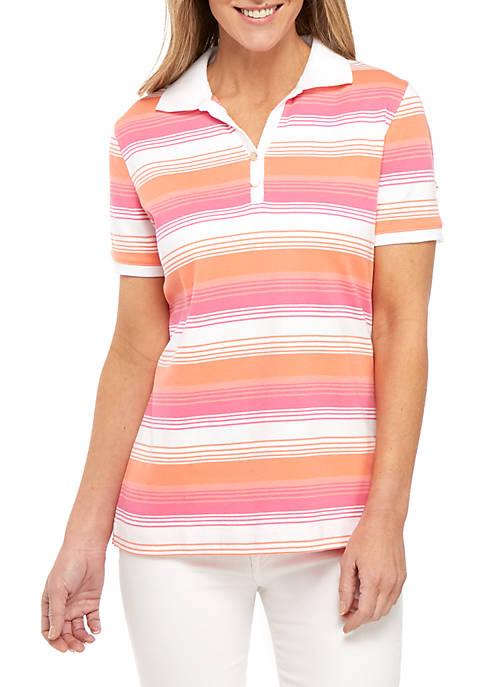 Kim Rogers® Short Sleeve Stripe Polo Top