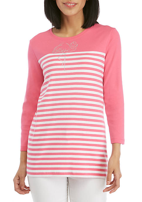 Striped T Shirt with Flamingo
