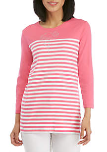 708d731564bb ... Kim Rogers® Striped T Shirt with Flamingo