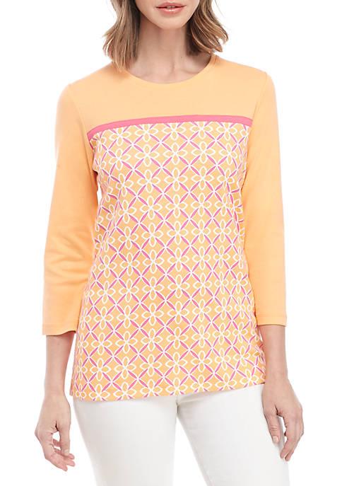 Kim Rogers® 3/4 Sleeve Geo Print Colorblock Top