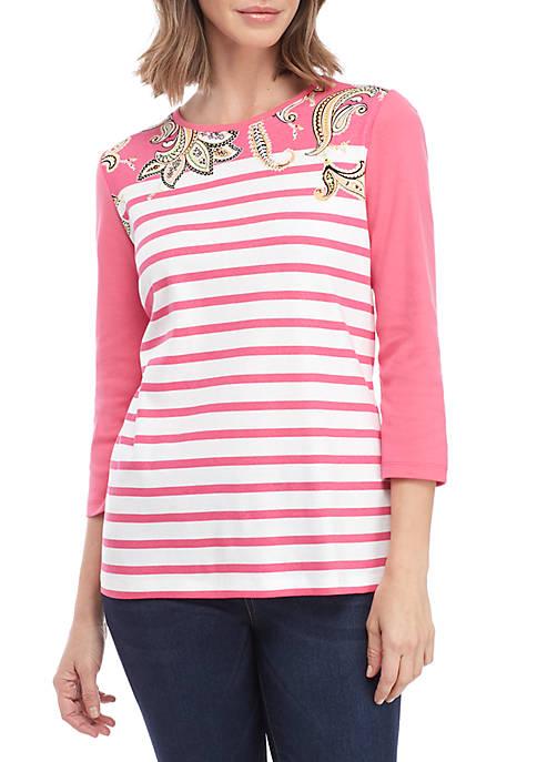Kim Rogers® 3/4 Sleeve Colorblock Crew Neck Top