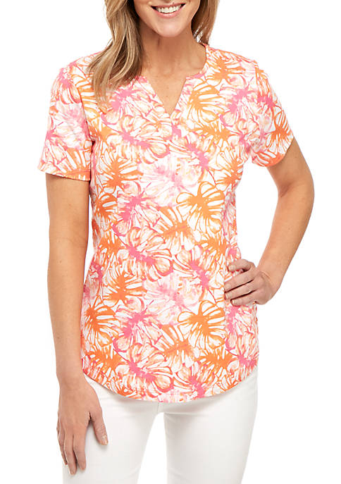Kim Rogers® Short Sleeve Leaf Print Top