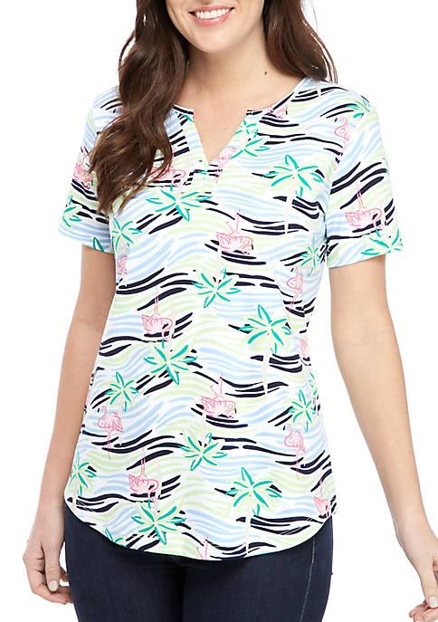 Kim Rogers® Short Sleeve Split Neck Flamingo Print