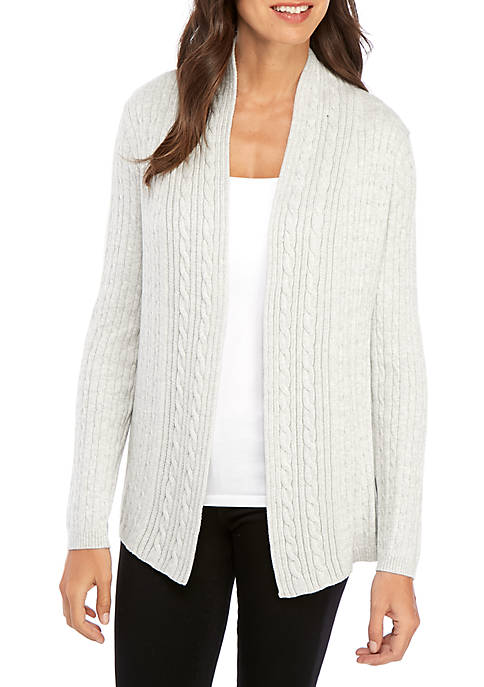 Kim Rogers® Long Sleeve Cable Knit Cardigan