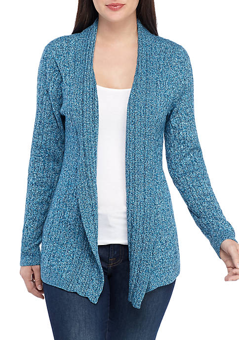 Kim Rogers® Long Sleeve Marled Cable Cardigan