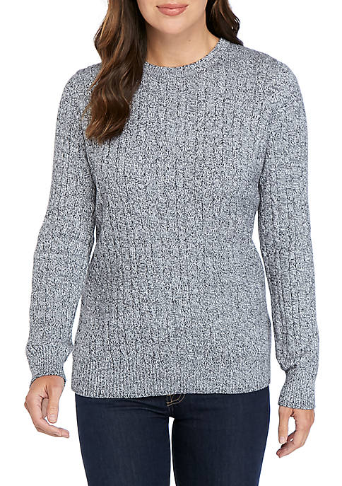Long Sleeve Marled Cable Knit Sweater