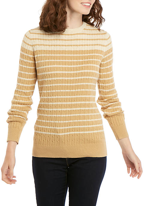 Kim Rogers® Long Sleeve Cable Knit Crew Striped