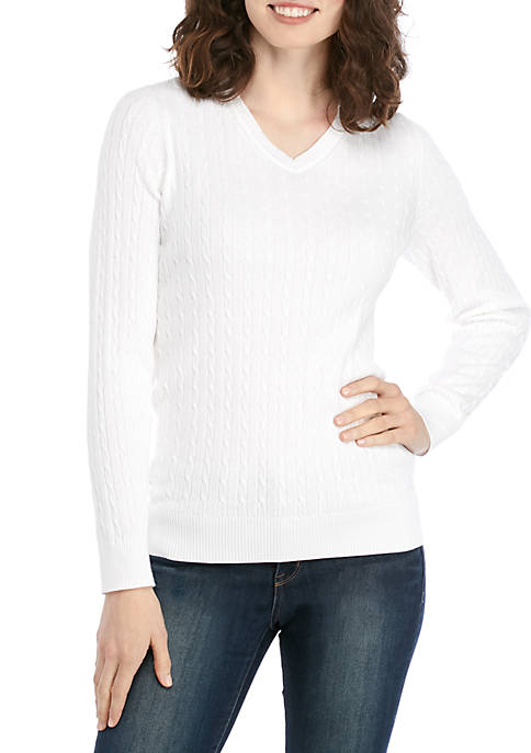 Kim Rogers® Long Sleeve Cable Knit V Neck