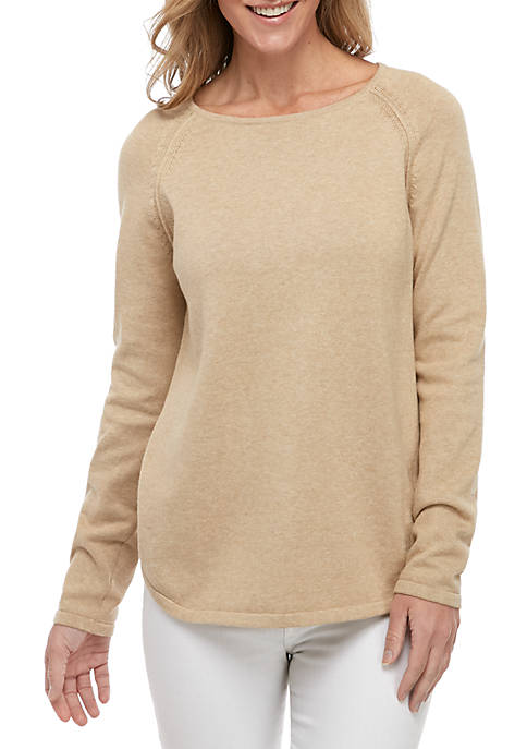 Kim Rogers® Long Raglan Sleeve Heather Crew Neck