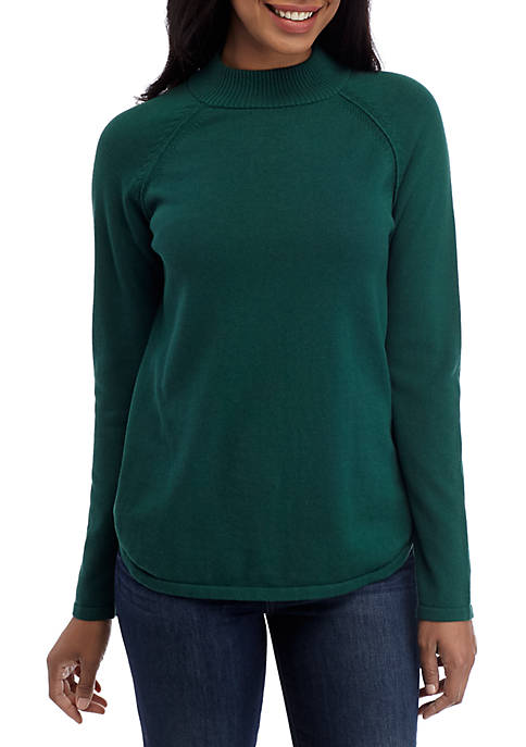 Kim Rogers® Long Raglan Sleeve Mock Neck Sweater