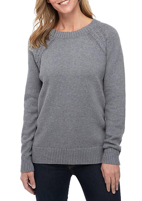 Kim Rogers® Long Sleeve Heather Crew Neck Sweater