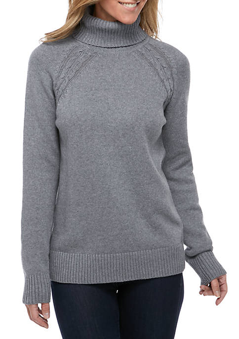 Kim Rogers® Long Sleeve Heather Turtle Neck Sweater