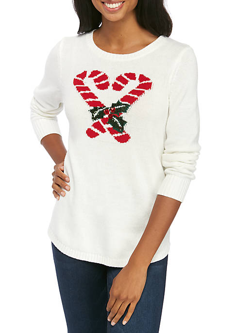 Womens Long Sleeve Motif Crew Neck Sweater
