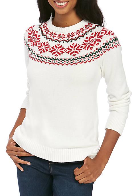 Kim Rogers® Womens Fair Isle Pullover Sweater