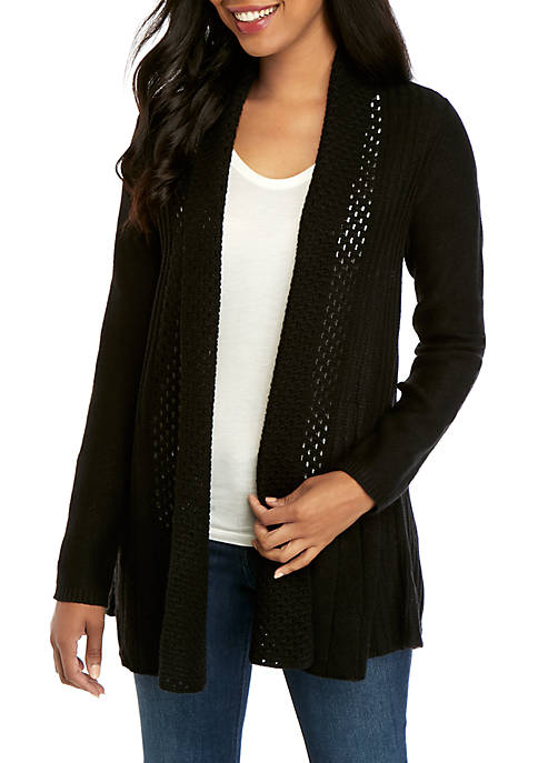 Kim Rogers® Long Sleeve Fan Stitch Cardigan