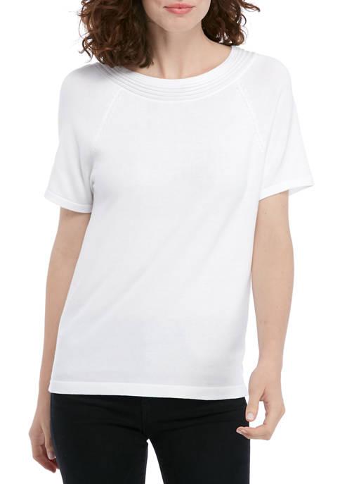 Kim Rogers® Womens Short Sleeve Texture Yoke Solid