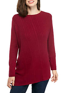 Long Sleeve Cable Crew Asymmetric Solid Sweater