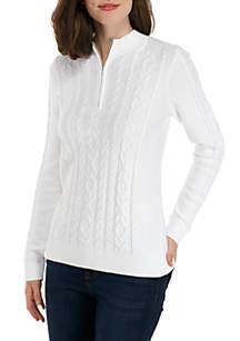 Long Sleeve Zip Mock Neck Solid Sweater