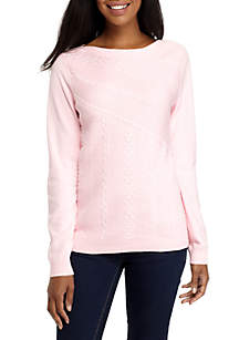 Long Sleeve Mixed Rib Cable Sweater