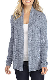 Long Sleeve Cable Marled Cardigan