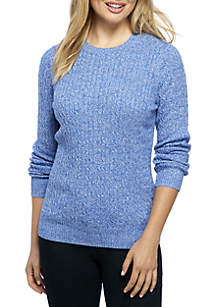 Long Sleeve Cable Knit Crew Neck Marled Sweater