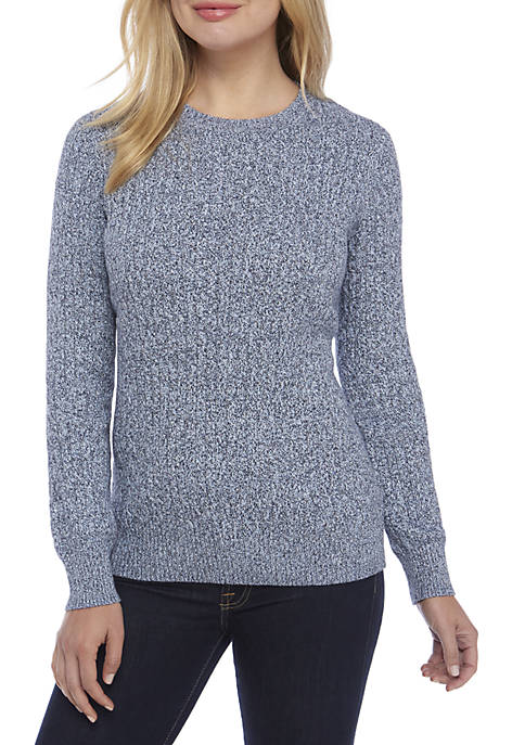 Kim Rogers® Long Sleeve Cable Knit Crew Neck