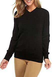 Long Sleeve Solid V-Neck Cable Sweater