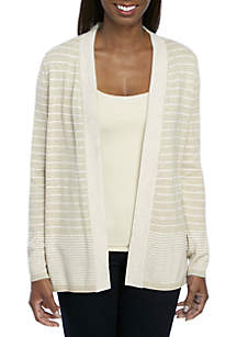 Long Sleeve Heather Two Color Stripe Cardigan