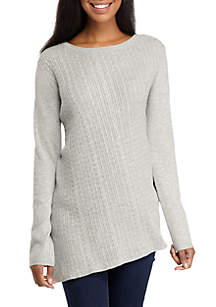 Long Sleeve Cable Asymmetric Heather Sweater
