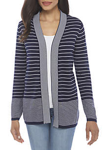 Long Sleeve Two Color Stripe Cardigan