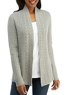 Long Sleeve Cable Heather Cardigan
