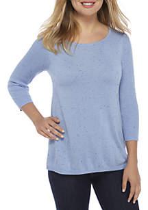 Three-Quarter Sleeve Crew Neck Solid Sweater