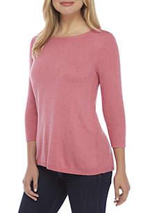 3/4 Sleeve Crew Neck Solid Sweater