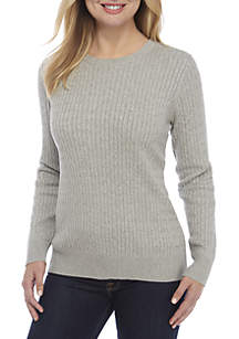 Long Sleeve Cable Knit Crew Neck Heather Sweater