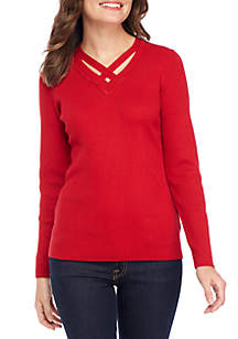Petite Long Sleeve V-Neck Solid Sweater