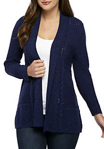 Long Sleeve Marled Cable Cardigan