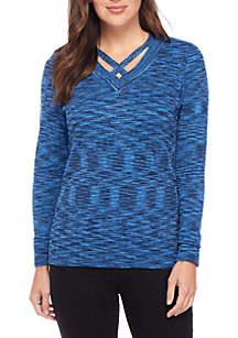 Long Sleeve V-Neck Spacedye Sweater