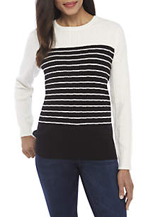 Long Sleeve Cable Knit Crew Neck Colorblock Sweater