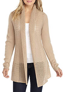 Fan Stitch Solid Cardigan