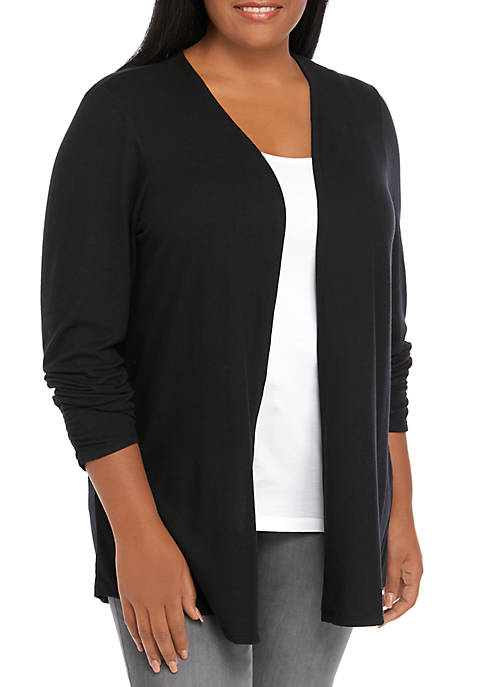 Plus Size Ruched Sleeve Hacci Cardigan