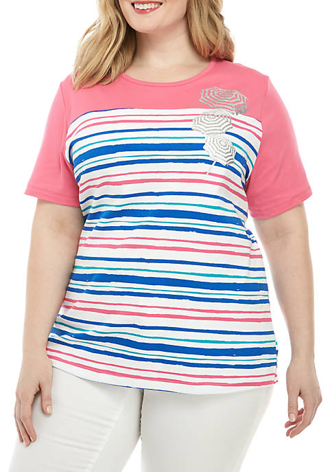 Kim Rogers® Plus Size Short Sleeve Stripe T
